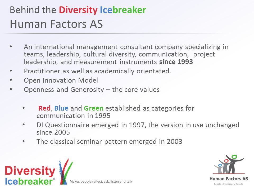 Behind the Diversity Icebreaker Human Factors AS