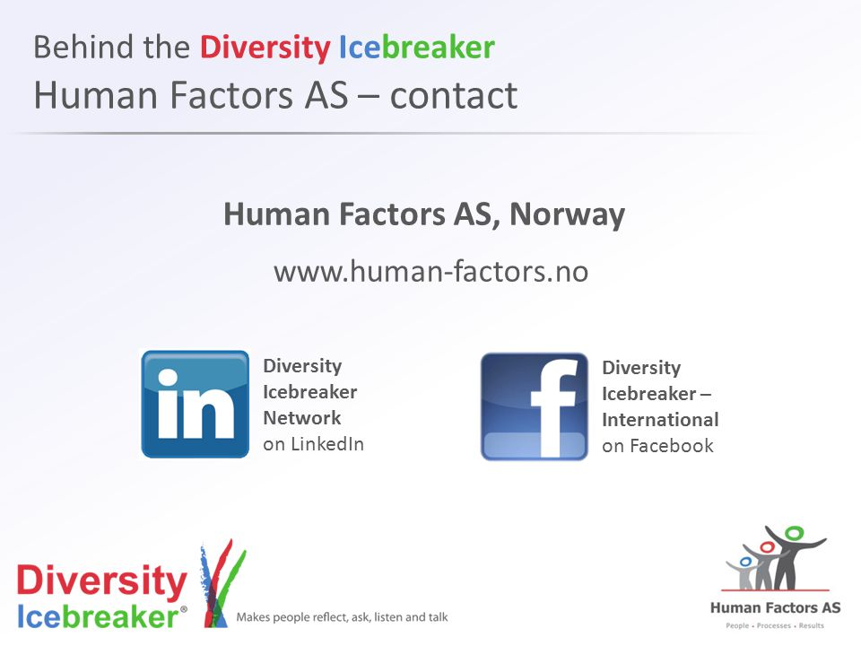 Behind the Diversity Icebreaker Human Factors AS – contact