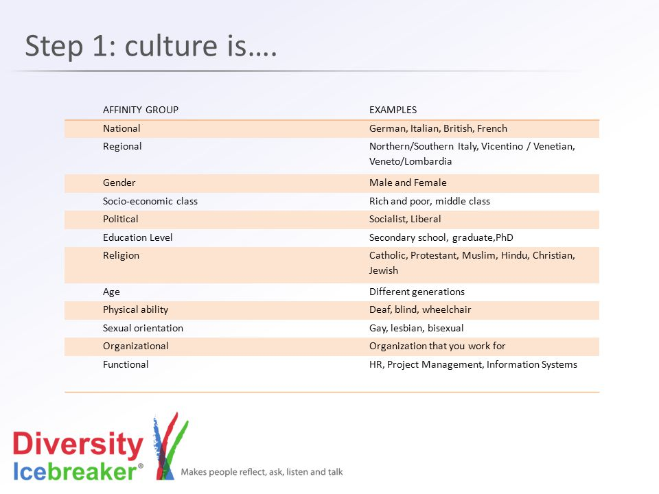 Step 1: culture is…. AFFINITY GROUP EXAMPLES National