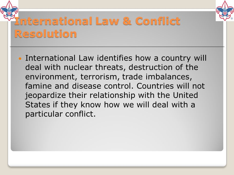 International Law & Conflict Resolution