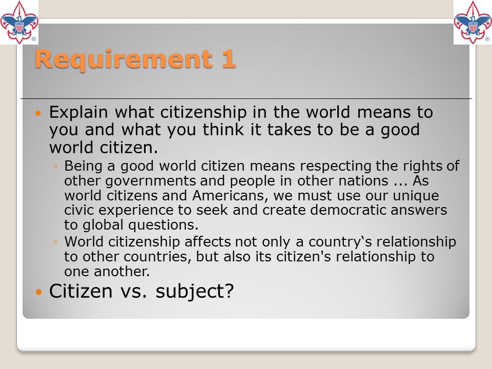 Requirement 1 Citizen vs. subject