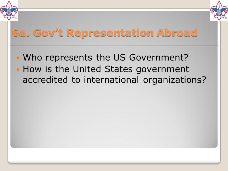 6a. Gov't Representation Abroad