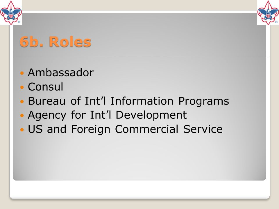 6b. Roles Ambassador Consul Bureau of Int'l Information Programs