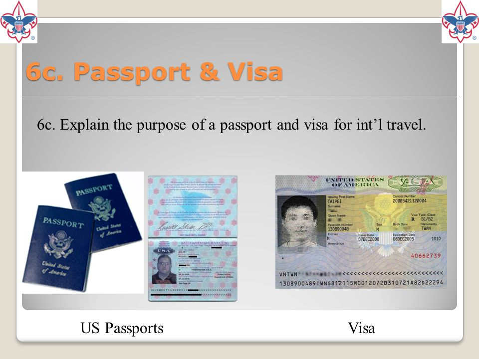 6c. Explain the purpose of a passport and visa for int'l travel.