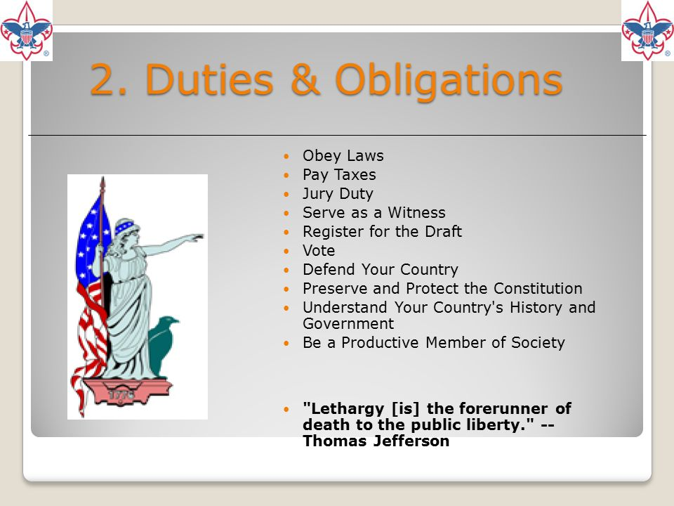 2. Duties & Obligations Obey Laws Pay Taxes Jury Duty