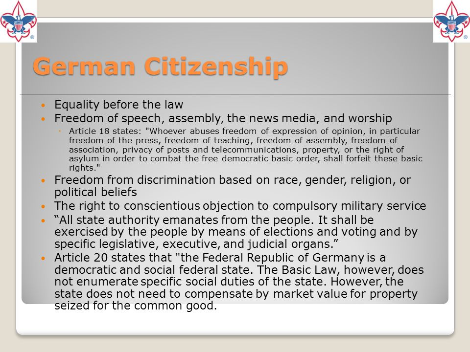German Citizenship Equality before the law