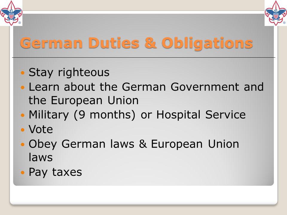 German Duties & Obligations