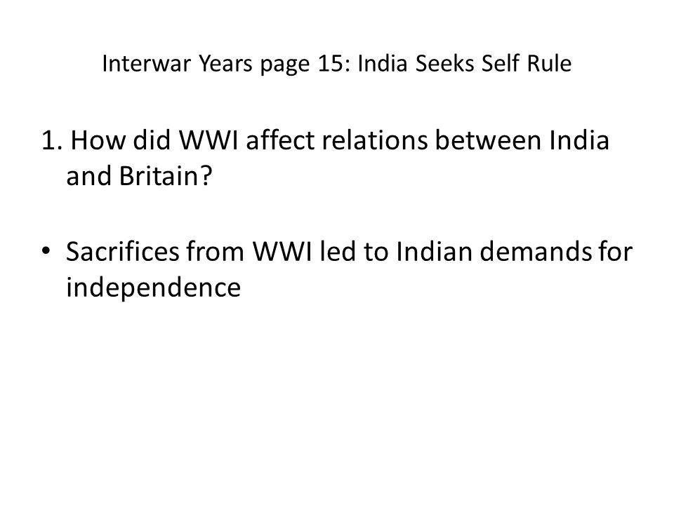 Interwar Years page 15: India Seeks Self Rule