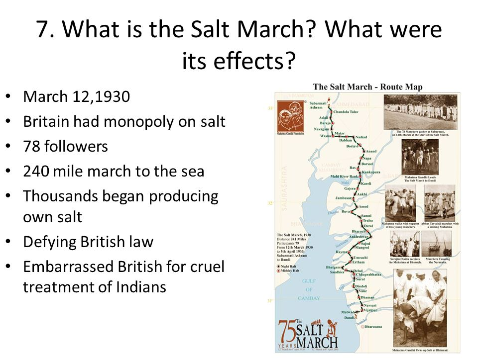 7. What is the Salt March What were its effects
