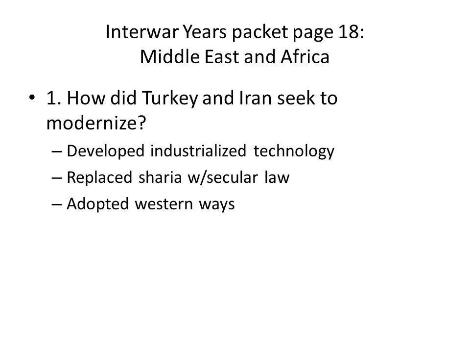 Interwar Years packet page 18: Middle East and Africa