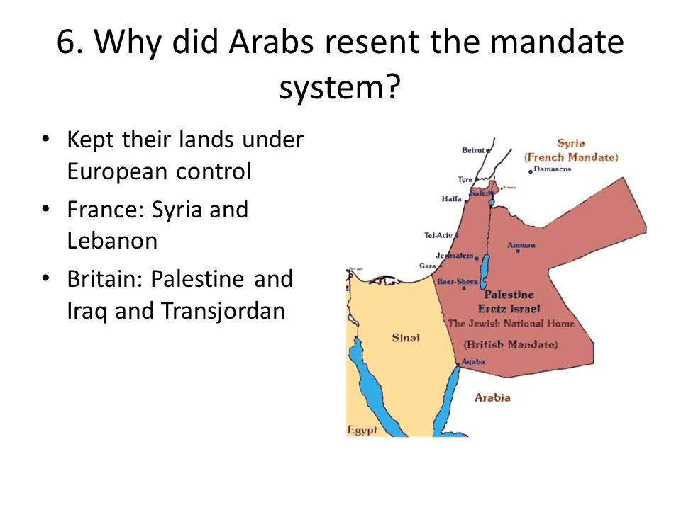 6. Why did Arabs resent the mandate system
