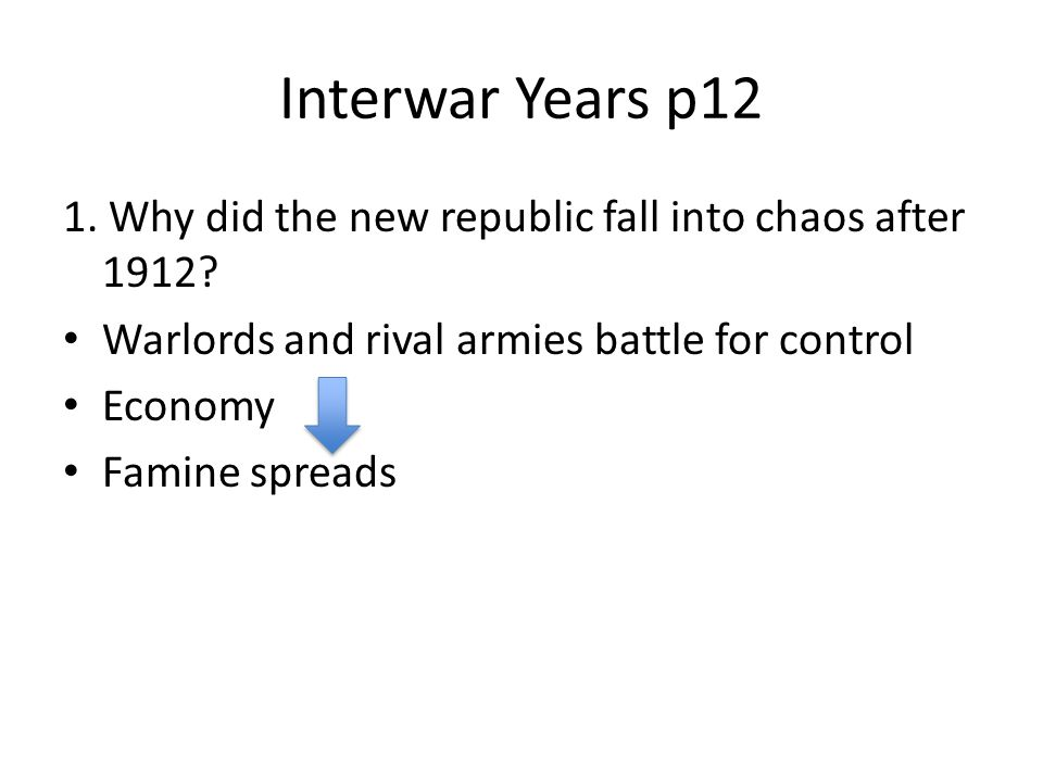 Interwar Years p12 1. Why did the new republic fall into chaos after 1912 Warlords and rival armies battle for control.