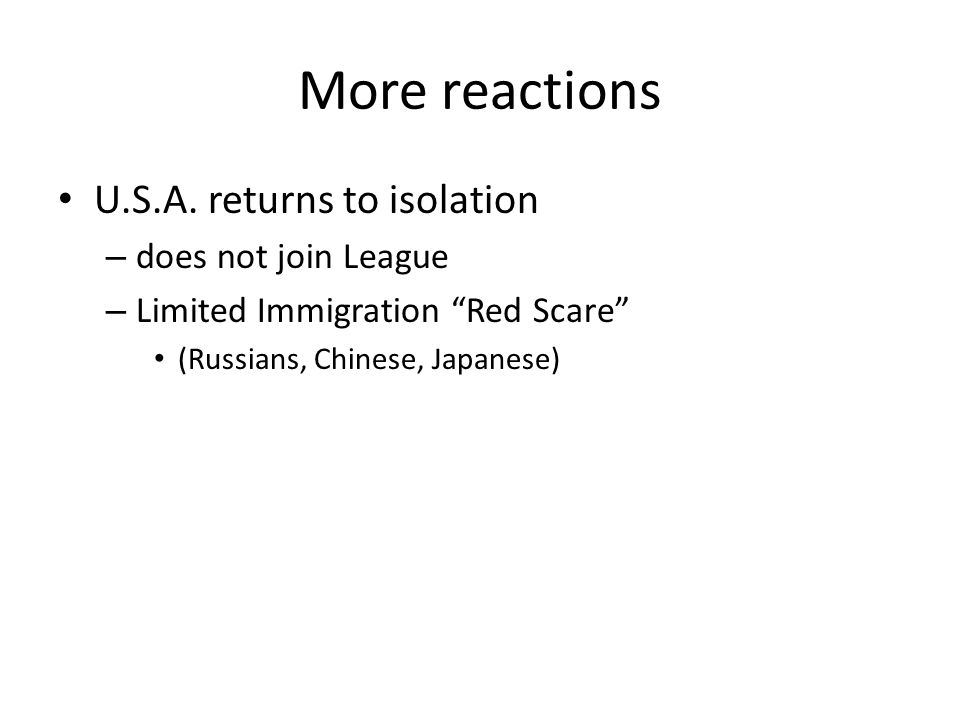 More reactions U.S.A. returns to isolation does not join League