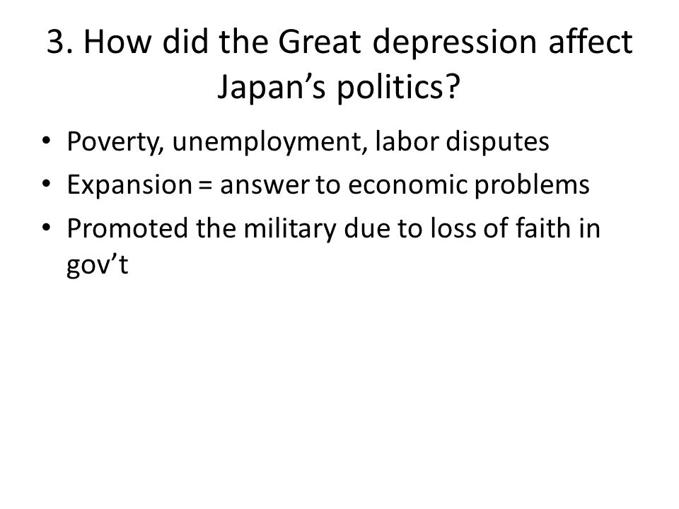 3. How did the Great depression affect Japan's politics