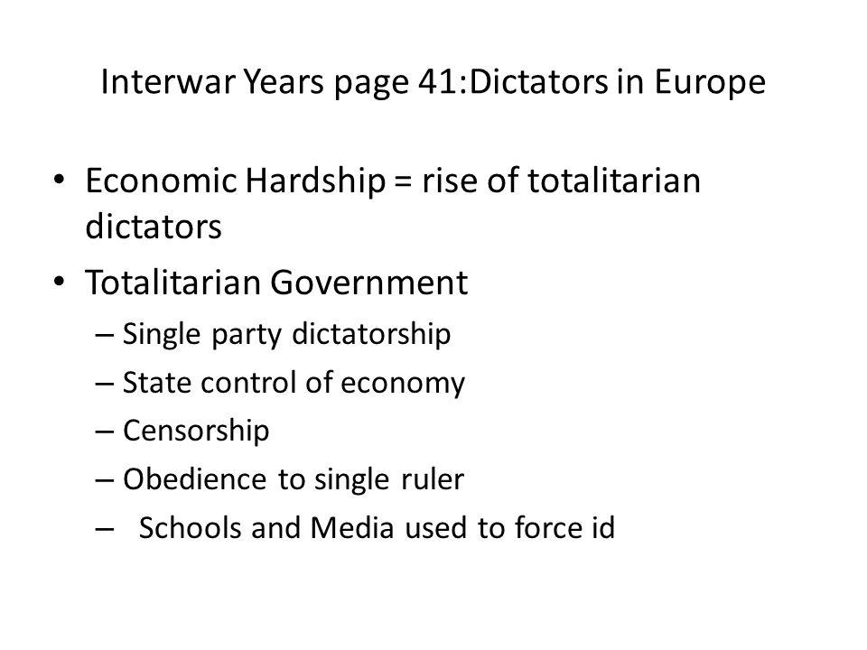 Interwar Years page 41:Dictators in Europe