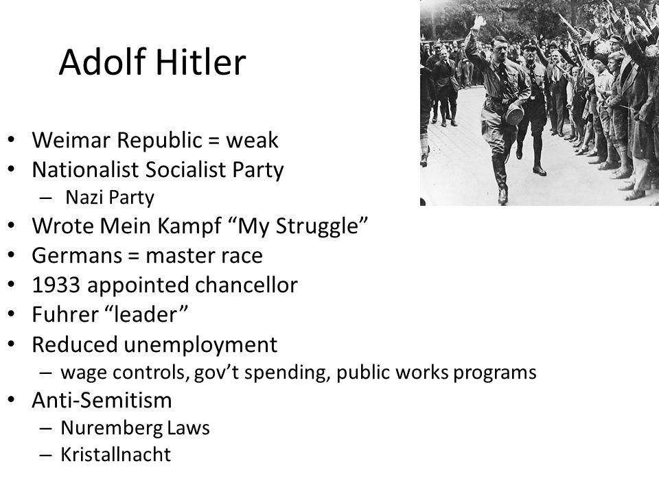 Adolf Hitler Weimar Republic = weak Nationalist Socialist Party