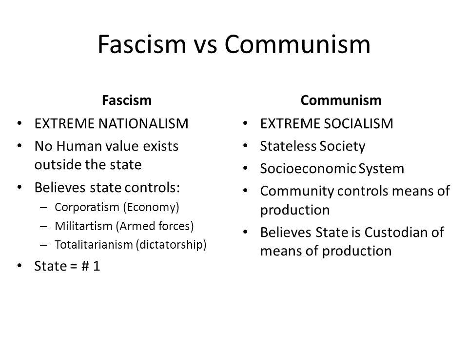 Fascism vs Communism Fascism Communism EXTREME NATIONALISM
