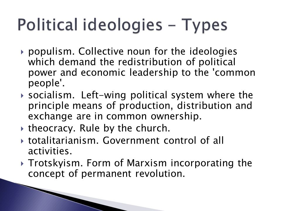 Political ideologies - Types
