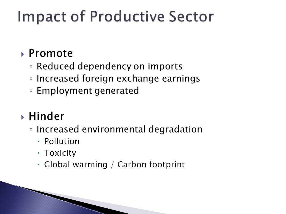 Impact of Productive Sector