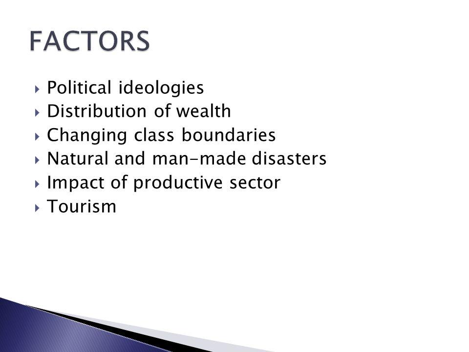 FACTORS Political ideologies Distribution of wealth