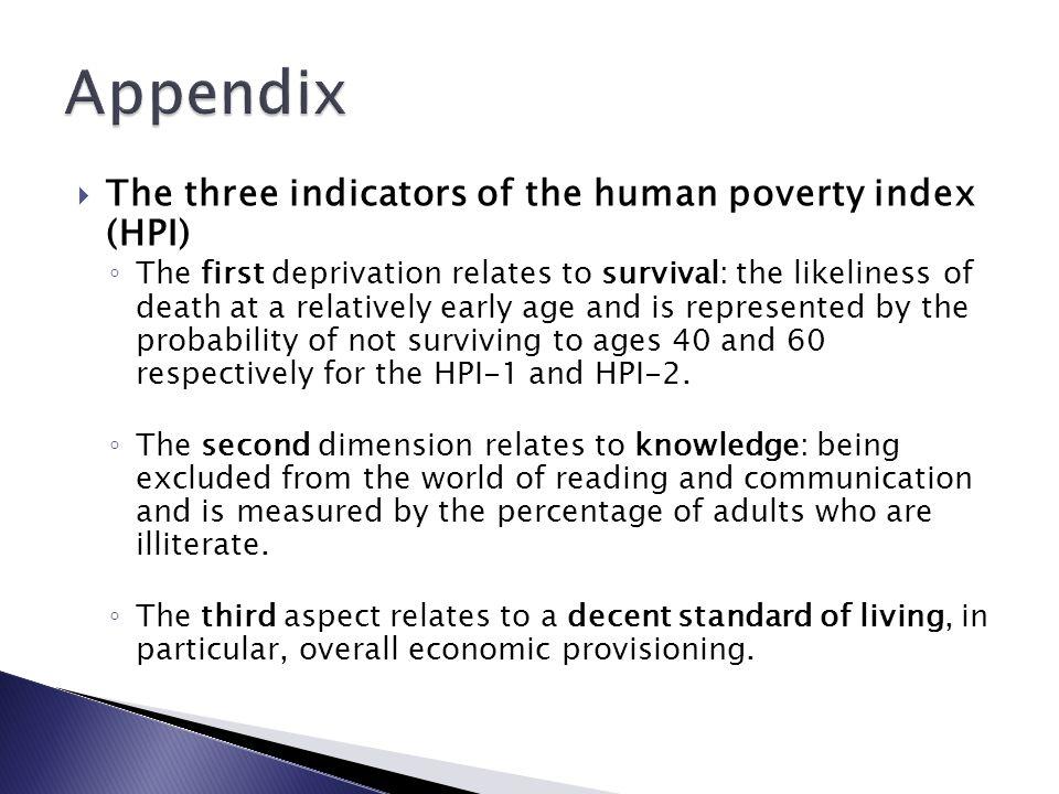 Appendix The three indicators of the human poverty index (HPI)