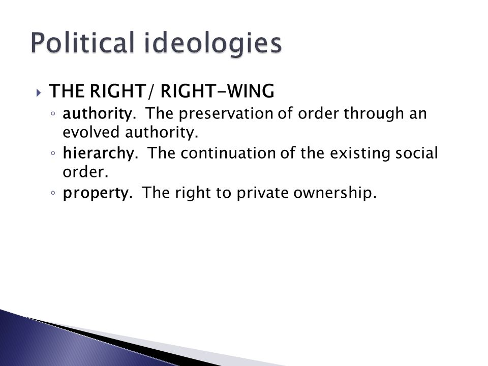Political ideologies THE RIGHT/ RIGHT-WING