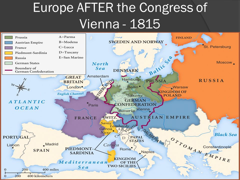 Europe AFTER the Congress of Vienna - 1815