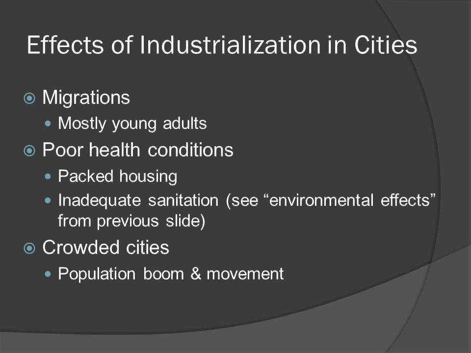 Effects of Industrialization in Cities