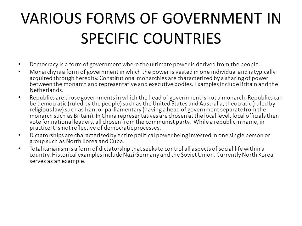 VARIOUS FORMS OF GOVERNMENT IN SPECIFIC COUNTRIES
