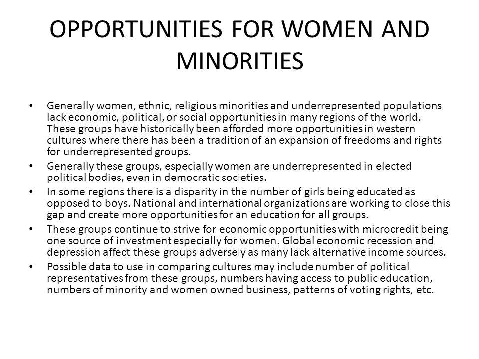 OPPORTUNITIES FOR WOMEN AND MINORITIES