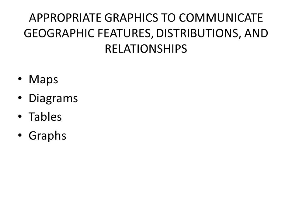 APPROPRIATE GRAPHICS TO COMMUNICATE GEOGRAPHIC FEATURES, DISTRIBUTIONS, AND RELATIONSHIPS