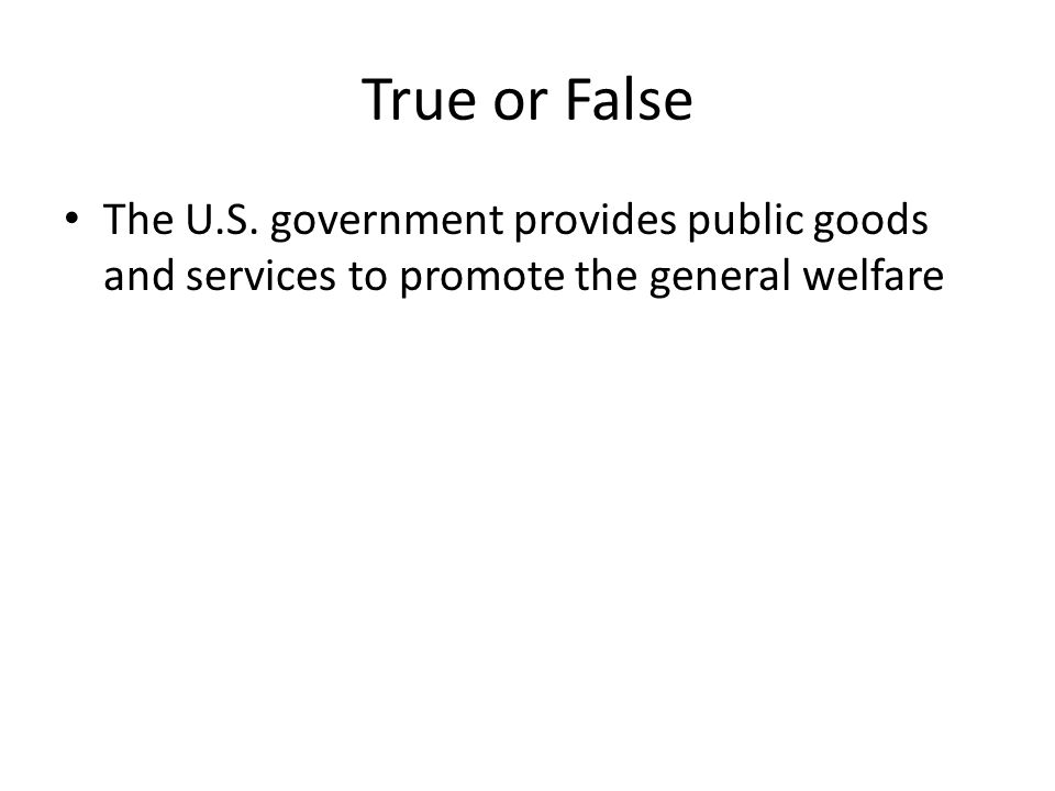 True or False The U.S. government provides public goods and services to promote the general welfare.
