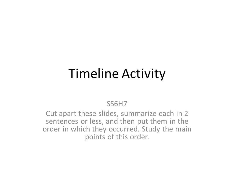 Timeline Activity SS6H7.