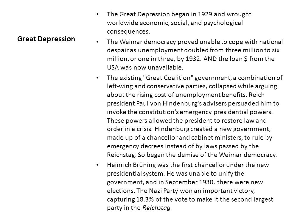 Great Depression The Great Depression began in 1929 and wrought worldwide economic, social, and psychological consequences.
