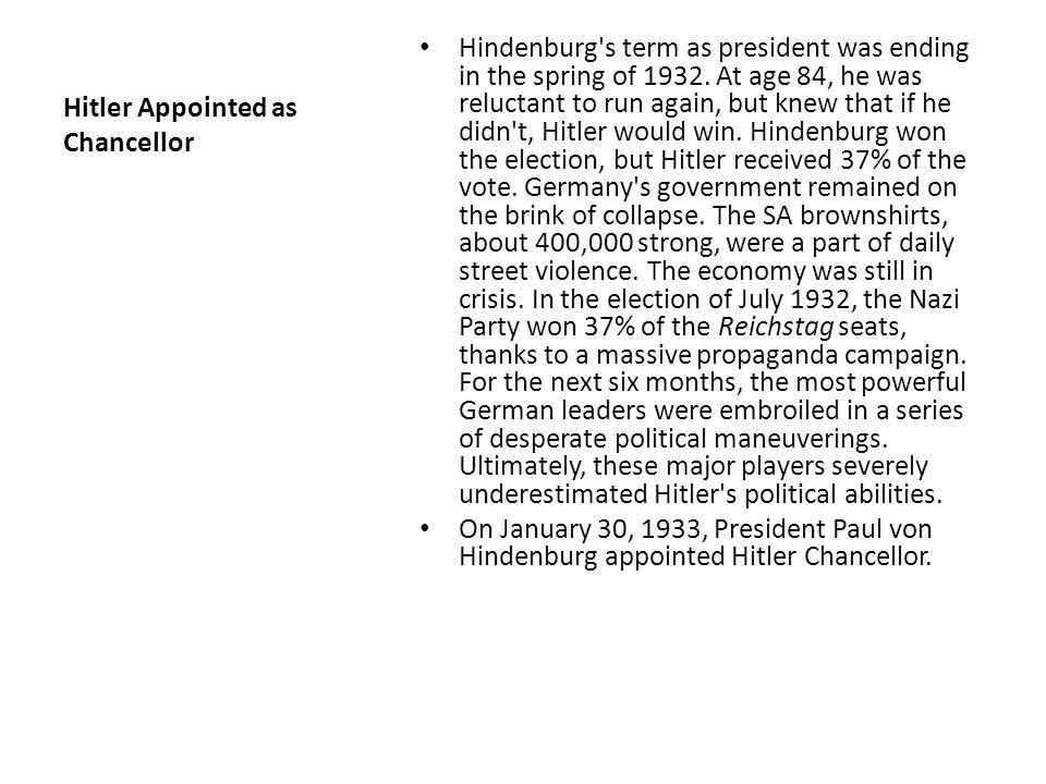 Hitler Appointed as Chancellor
