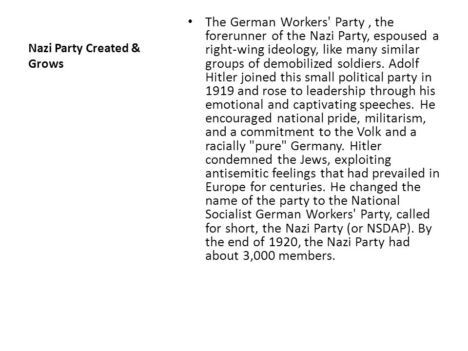 Nazi Party Created & Grows