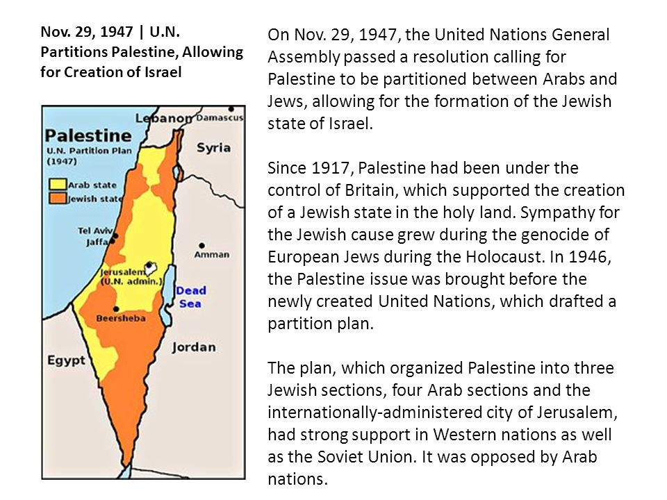 Nov. 29, 1947 | U.N. Partitions Palestine, Allowing for Creation of Israel