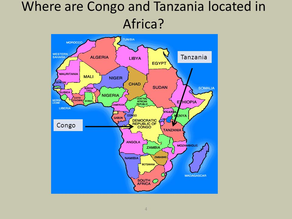 Where are Congo and Tanzania located in Africa