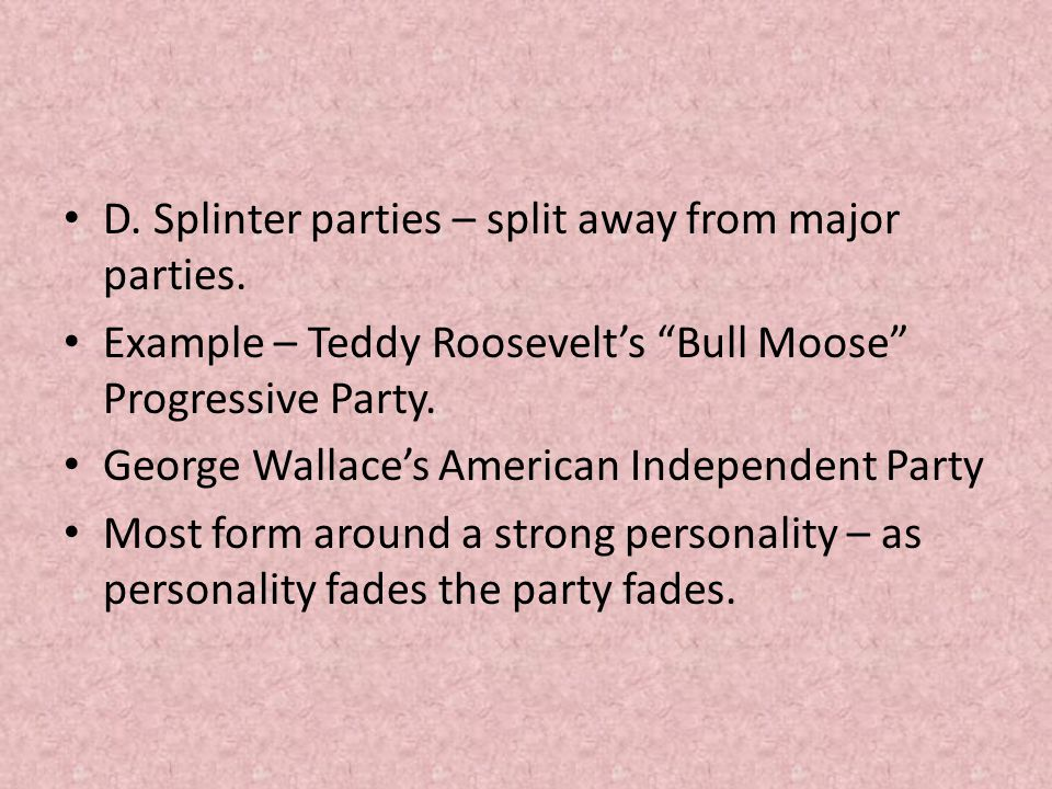 D. Splinter parties – split away from major parties.