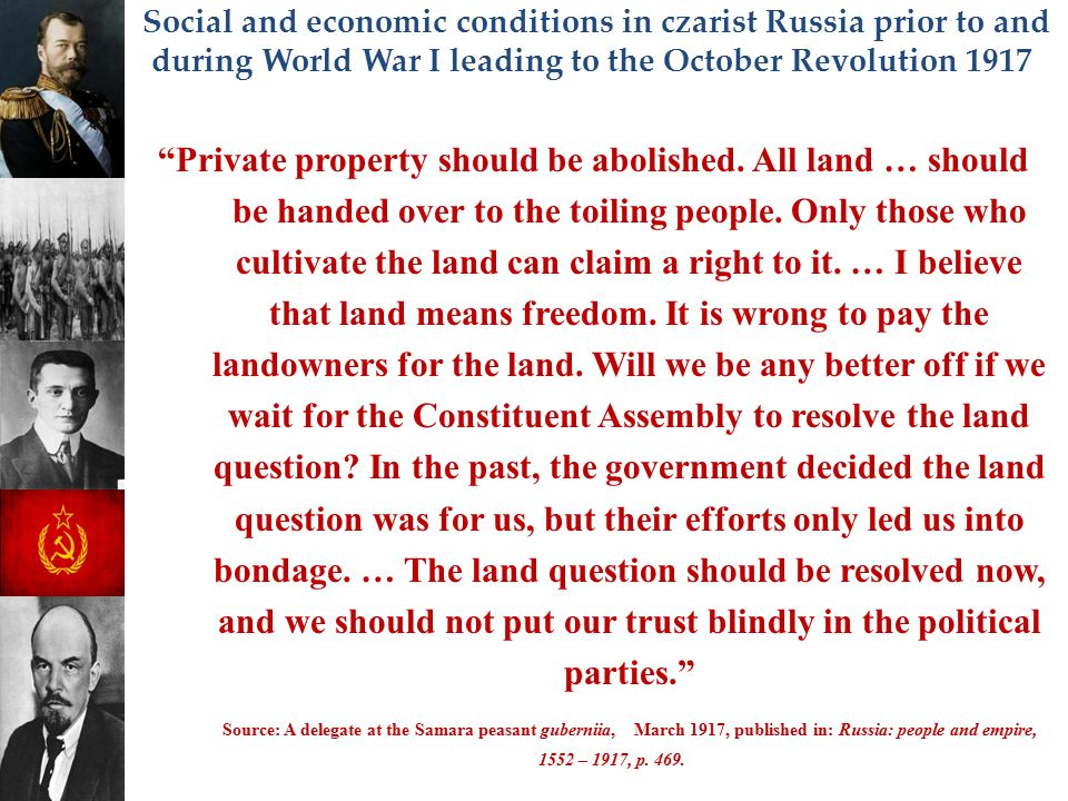 Private property should be abolished. All land … should