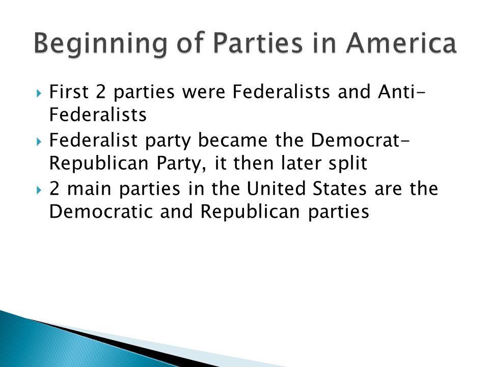 Beginning of Parties in America