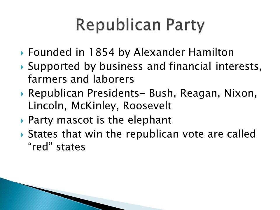 Republican Party Founded in 1854 by Alexander Hamilton