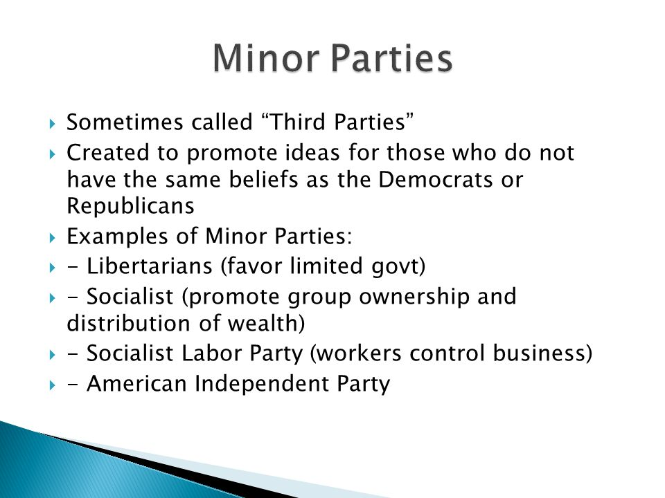 Minor Parties Sometimes called Third Parties