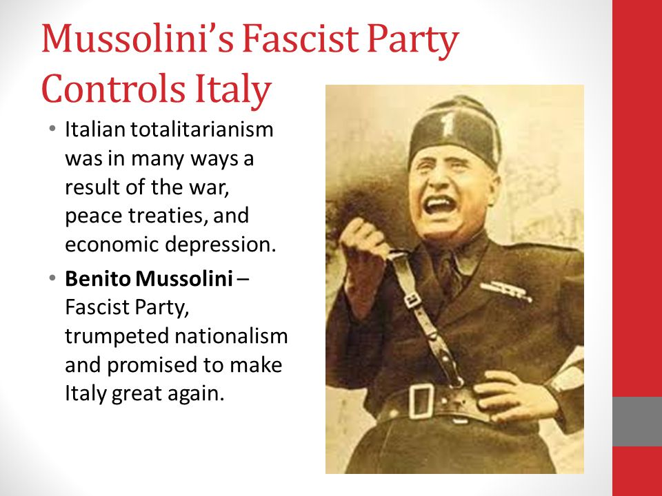 Mussolini's Fascist Party Controls Italy