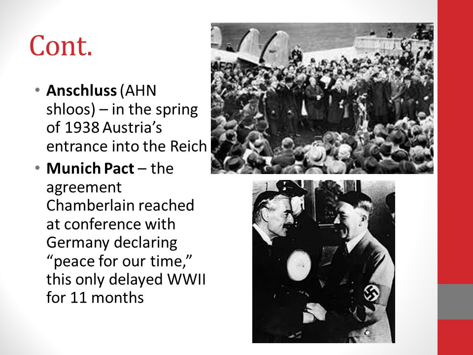 Cont. Anschluss (AHN shloos) – in the spring of 1938 Austria's entrance into the Reich.