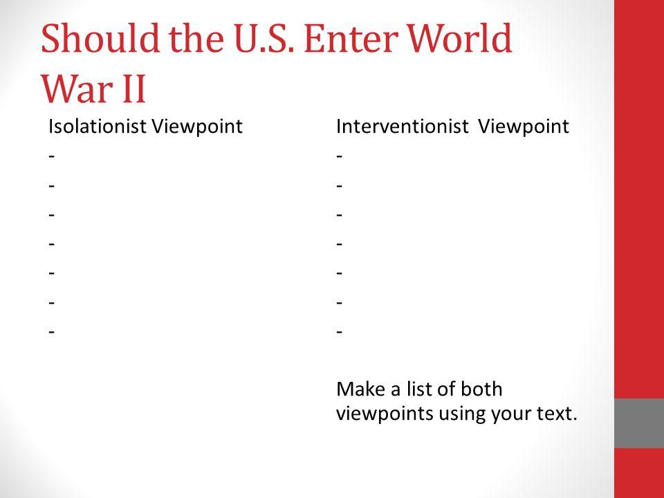Should the U.S. Enter World War II