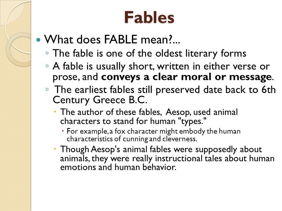 Fables What does FABLE mean ...
