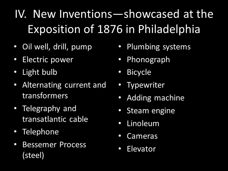 IV. New Inventions—showcased at the Exposition of 1876 in Philadelphia