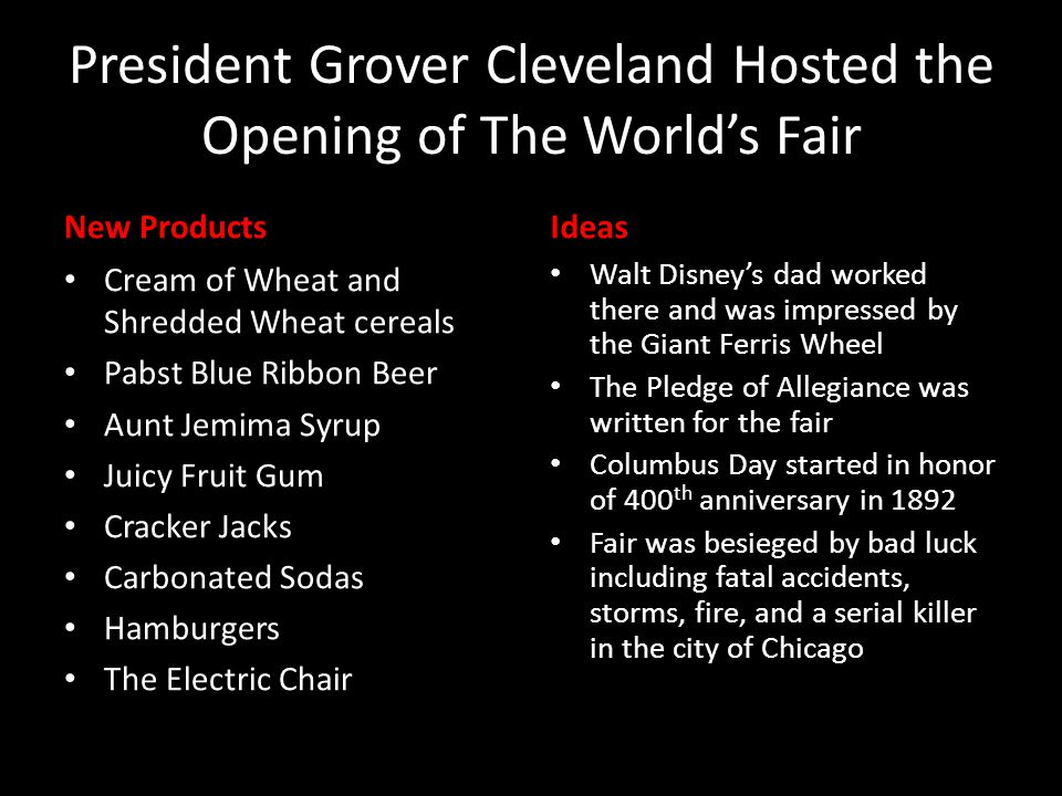 President Grover Cleveland Hosted the Opening of The World's Fair