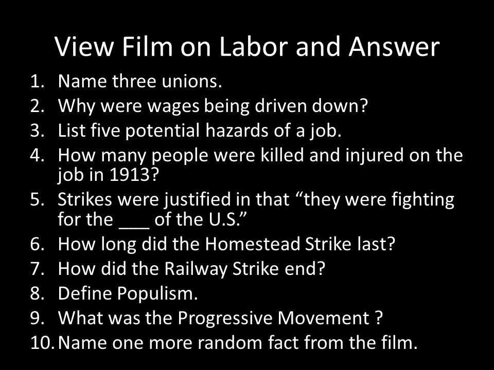 View Film on Labor and Answer